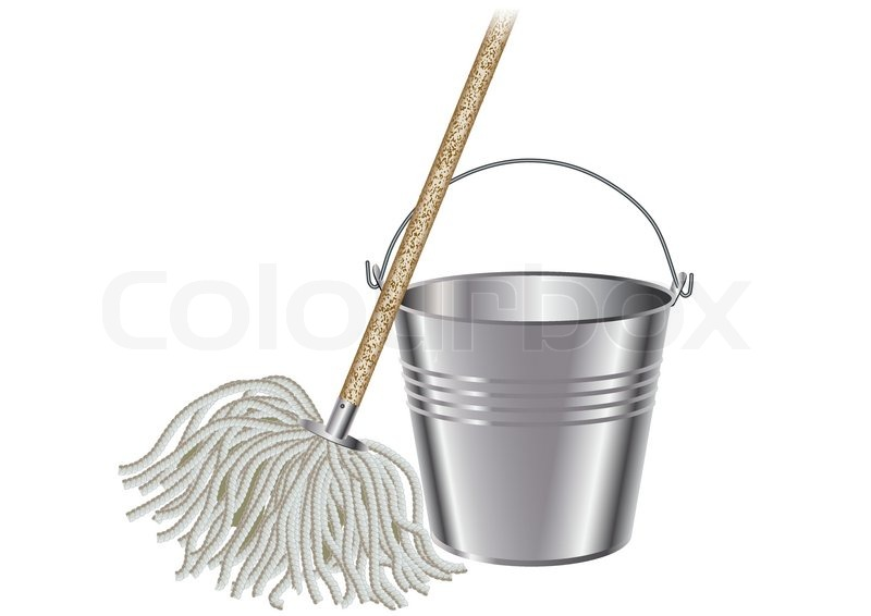 Mop And Bucket Stock Vector Colourbox