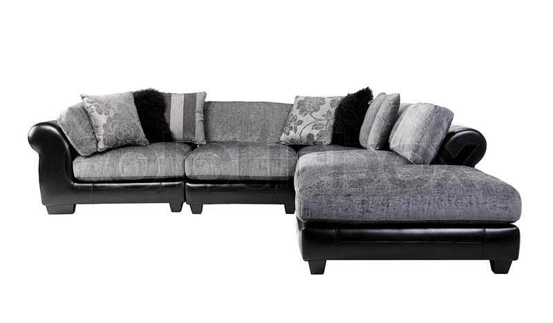 nice and cozy of the luxury mix leather and fabric sofa bench isolated stock photo colourbox