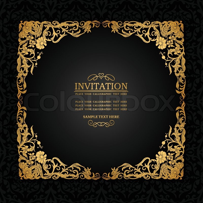 Vintage background with antique luxury black and gold ornamental stock vector of vintage background with antique luxury black and gold ornamental frame stopboris Image collections