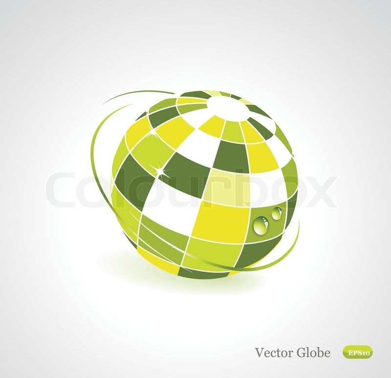 Background with green globe icon. Ecology concept   Stock ...