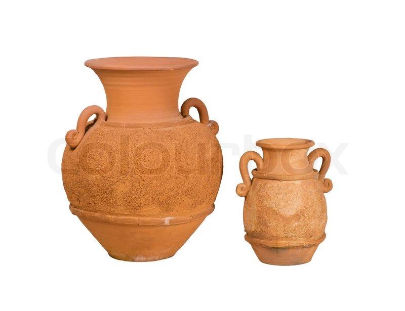 The Nice Handmade Vase Clay Pottery Isolates Stock Photo Colourbox