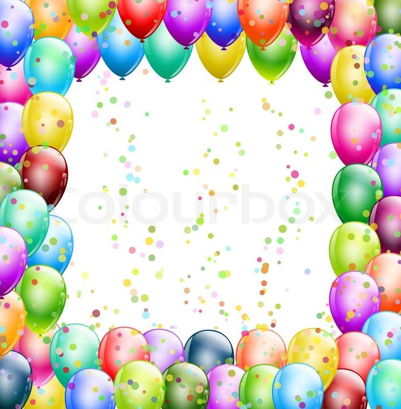 Happy Birthday Ballons Rahmen mit Konfetti   Stockfoto   Colourbox