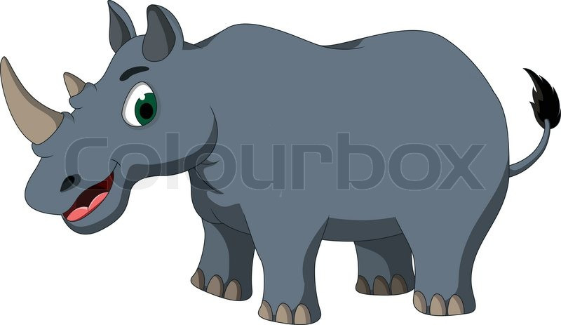 Cute Rhino Cartoon Stock Vector Colourbox