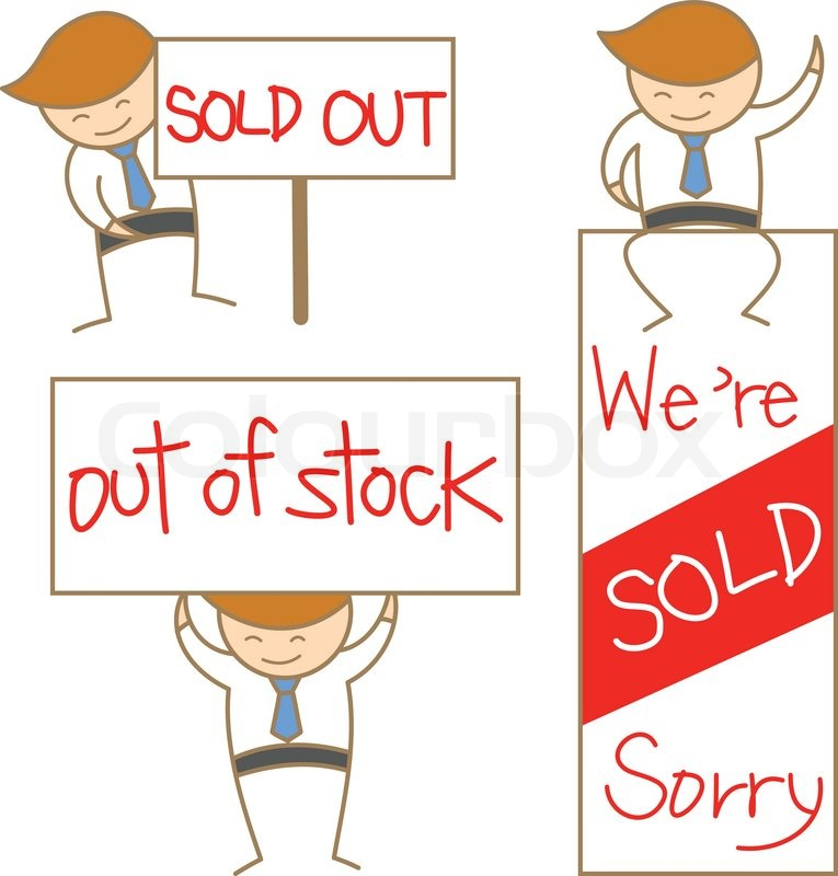 Cartoon character of business man show sold out sign set ...