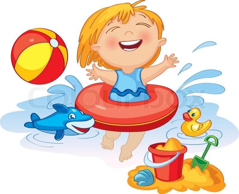Schwimmbad comic kinder  Sommer, küste, spritzen | Vektorgrafik | Colourbox