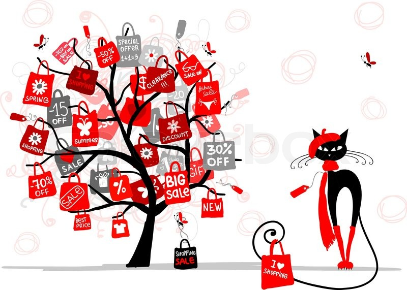 Season Sale Tree Fashion Cat With Shopping Bag For Your Design Stock Vector Colourbox