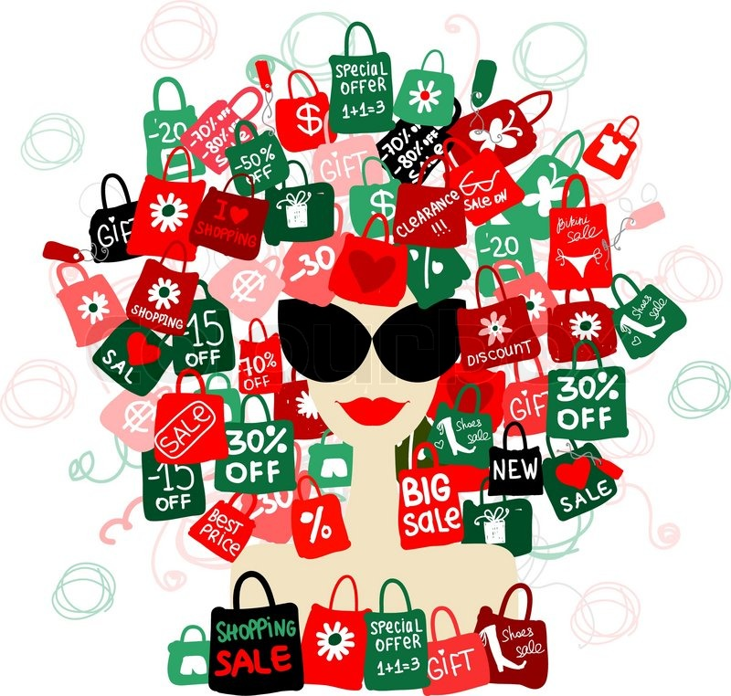 I Love Sale Fashion Woman Portrait With Shopping Concept For Your Design Stock Vector Colourbox