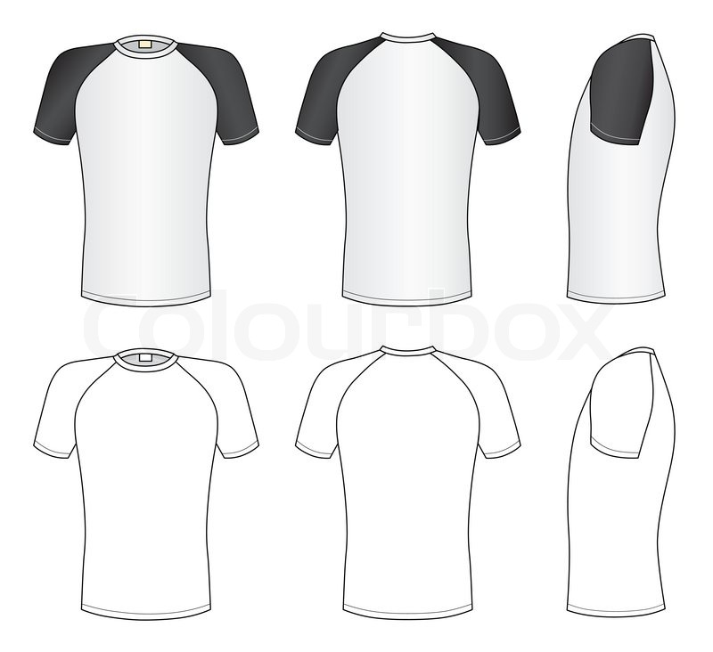 Outline Black White T Shirt Vector Illustration Isolated