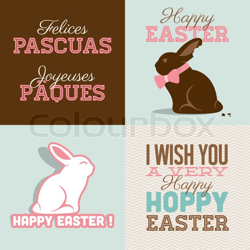 happy easter cards illustration with easter bunny chocolate easter
