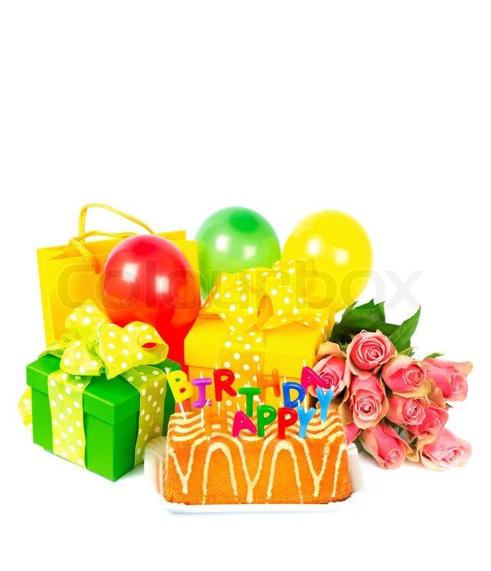 Geburtstag dekoration mit kuchen geschenke und blumen for Dekoration kuchen