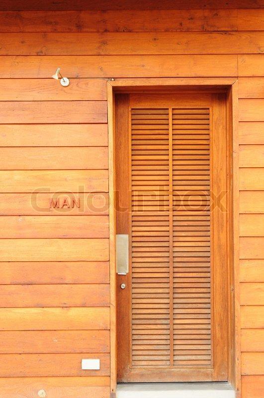 & Toilet door made of wood | Stock Photo | Colourbox pezcame.com