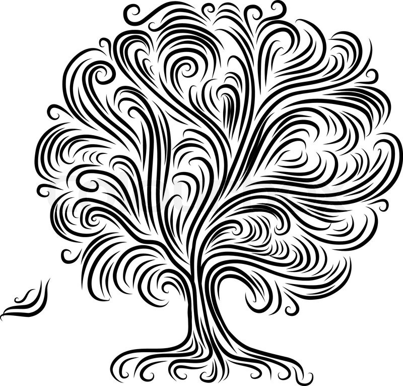 Line Art Box Designs : Abstract tree with roots for your design stock vector