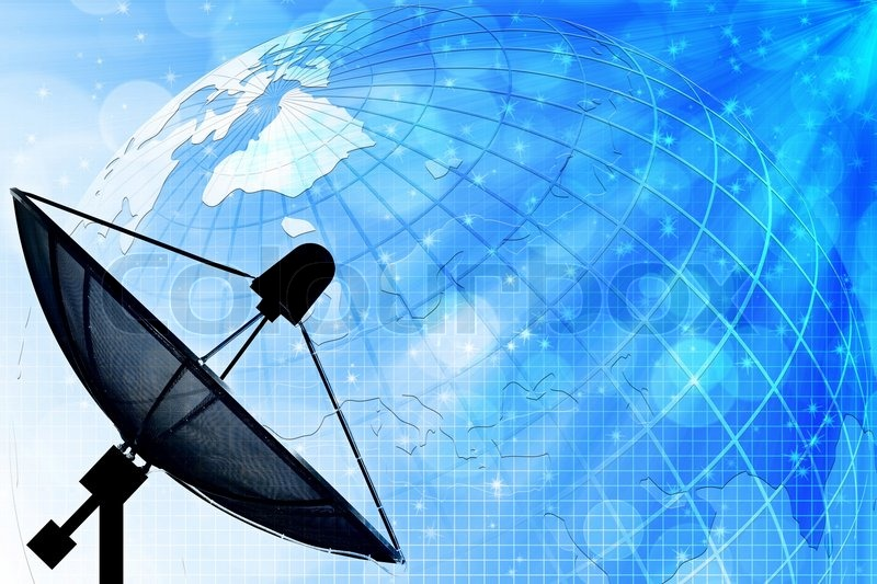 Satellite Dish On Global Background For Communication And