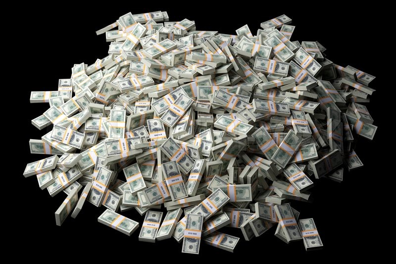 huge pile of american money on black background stock