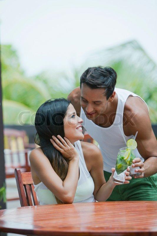 Picture young black couple having drink, hot lauren gottlieb nude image
