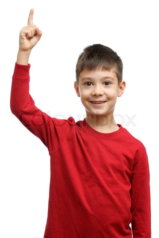 Happy Child With Good Idea Holds Finger   Stock Image -1221