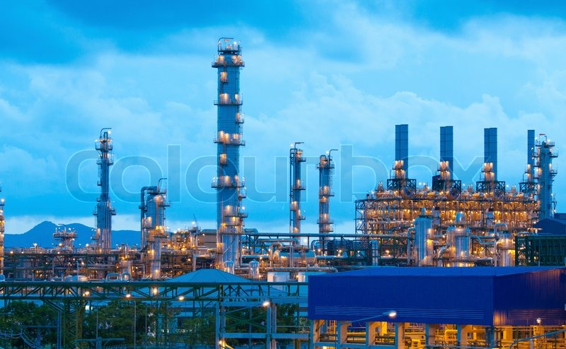 Petrochemical plant in the evening time Stock Photo Colourbo
