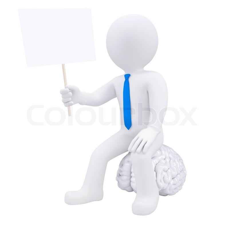 3d Mann sitzt auf dem Gehirn und hält einen Teller | Stockfoto ...