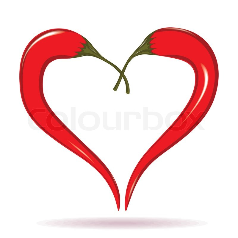 Hot Valentine Love Symbol To Azian Mexican Cooking. Element For Design  Isolated On White. | Stock Vector | Colourbox