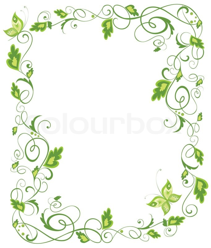 Floral Green Border Vector 6130037 on Swirl Border Stencil