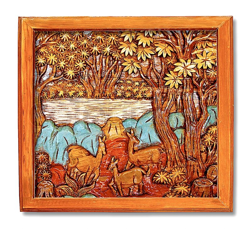 The Carving wood frame of deer on background This is traditional and ...