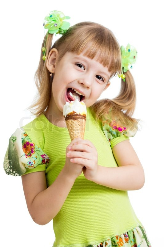 Happy kid girl eating ice cream in ... | Stock Photo | Colourbox