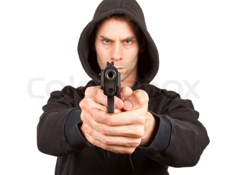 Stock image of 'Man with a gun, isolated on a white background'