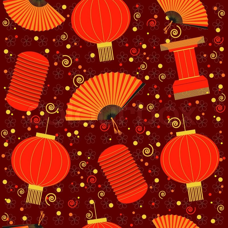 Chinese Red Lanterns Seamless PatternVector Background