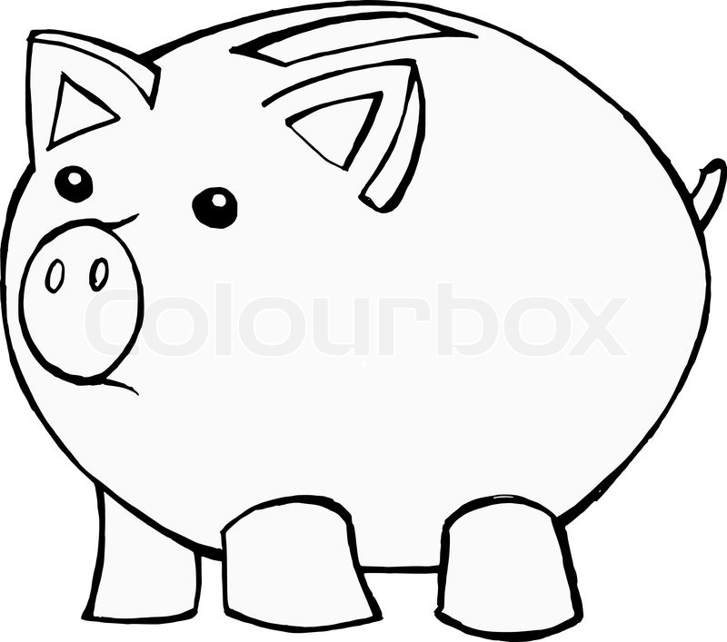 Line Drawing Piggy Bank : Hand drawn cartoon vector illustration of piggy bank