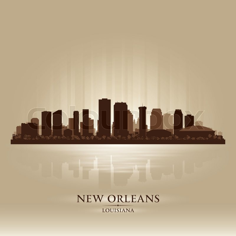 New Orleans Louisiana skyline city silhouette | Stock ...