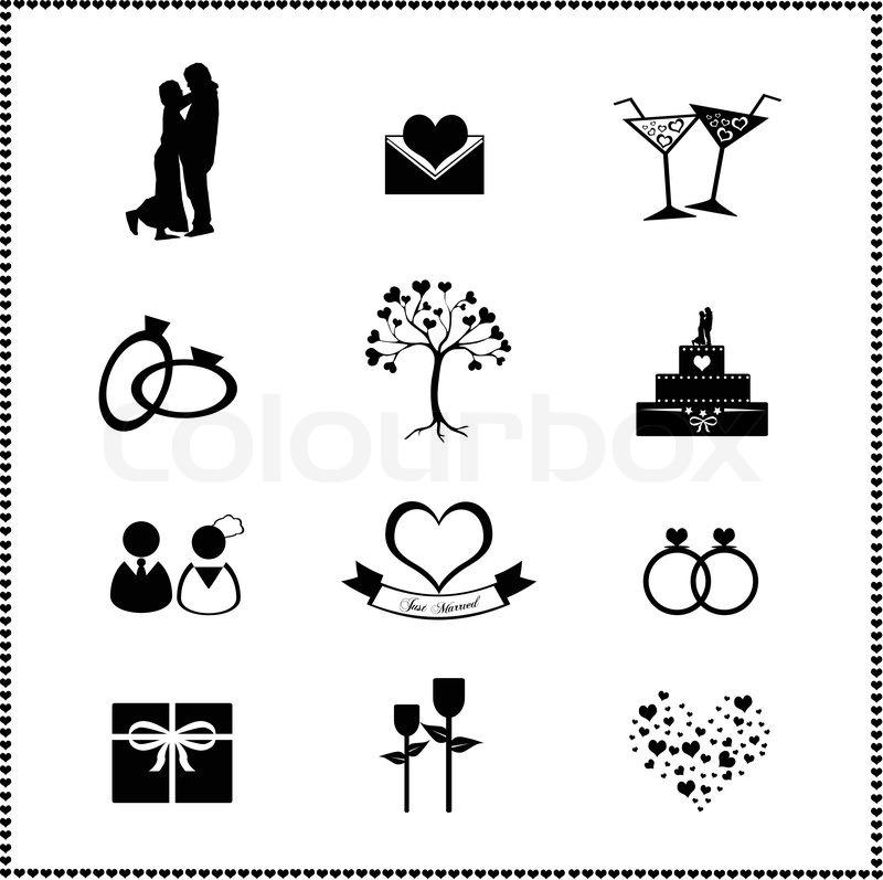 Set Der Hochzeit Icons Vektorgrafik Colourbox