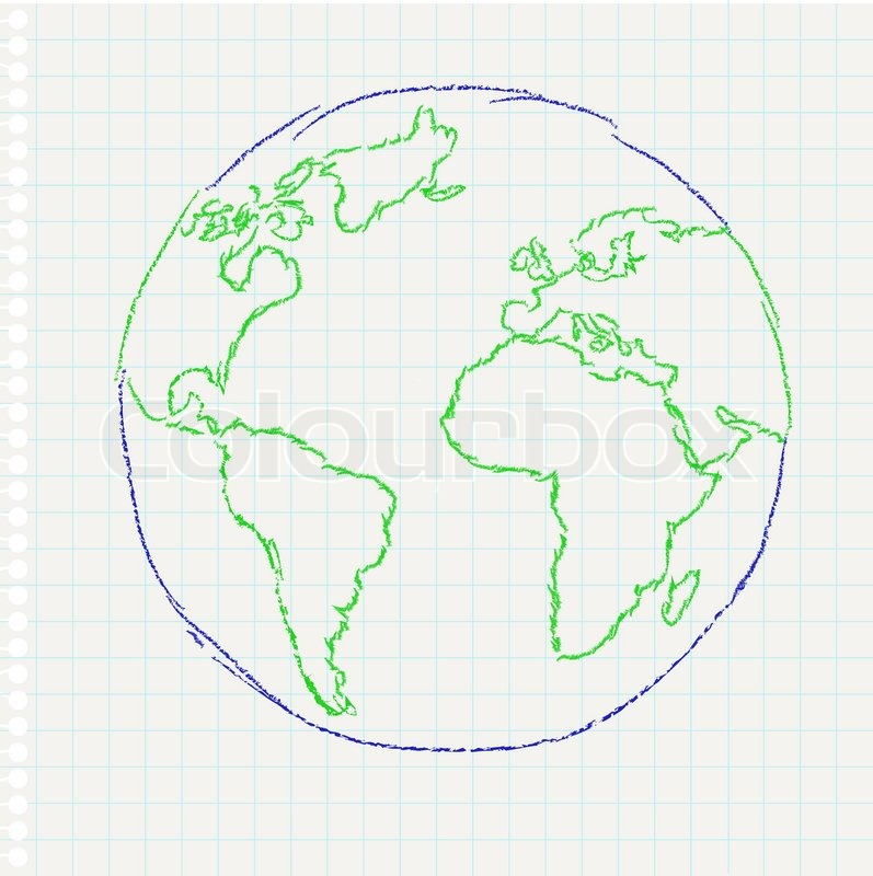 Child's drawing of the planet Earth on a notepad leaf ...