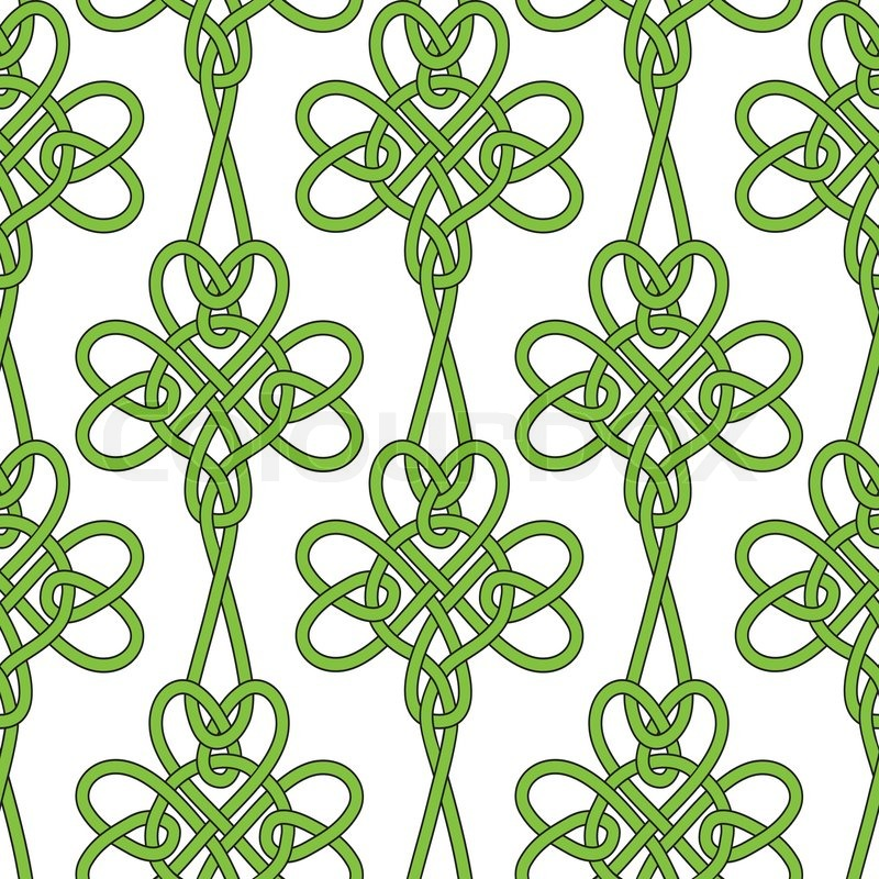Seamless Flower Shamrock Clover Vector Leaves Background