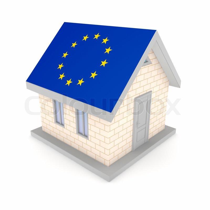 kleines haus mit einer fahne der eu auf einem dach stockfoto colourbox. Black Bedroom Furniture Sets. Home Design Ideas