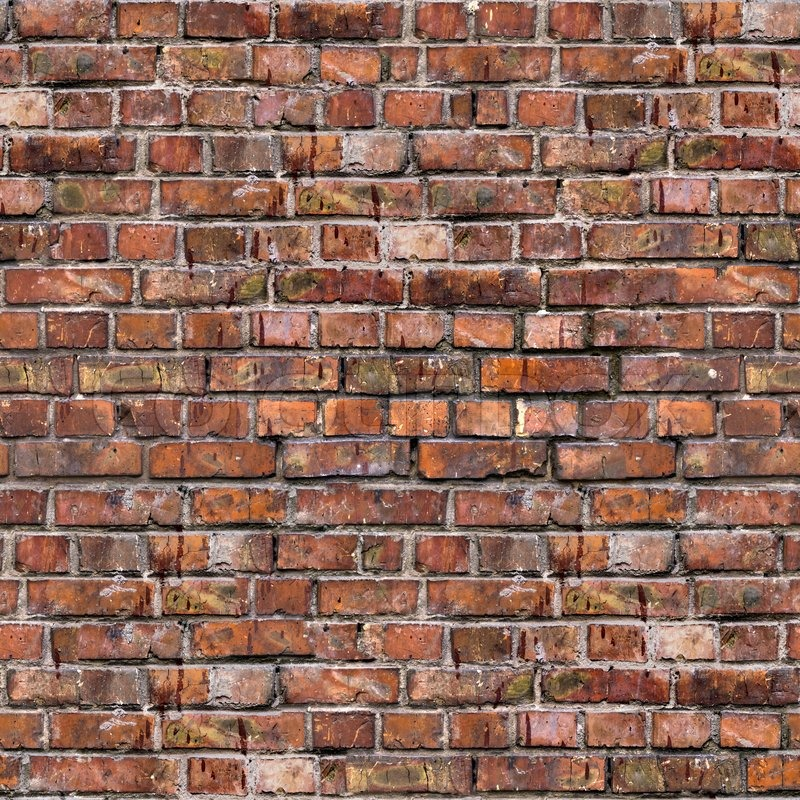 Brick Wall. Old Dark Red Bricks with Cracks and Dirt Spots. Seamless Tileable Texture, stock photo