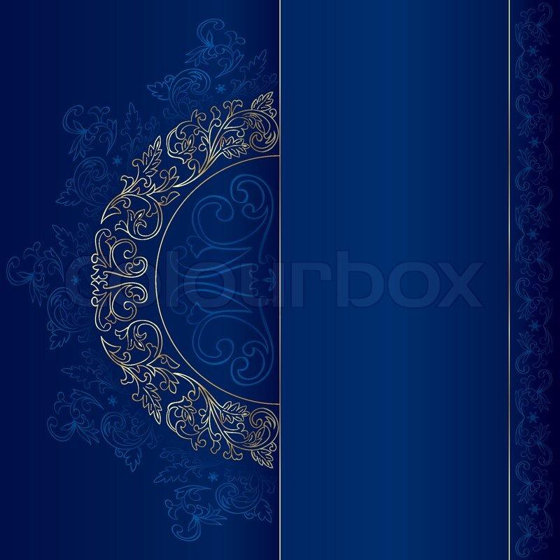 Gold vintage floral patterns on blue background. Vector ...