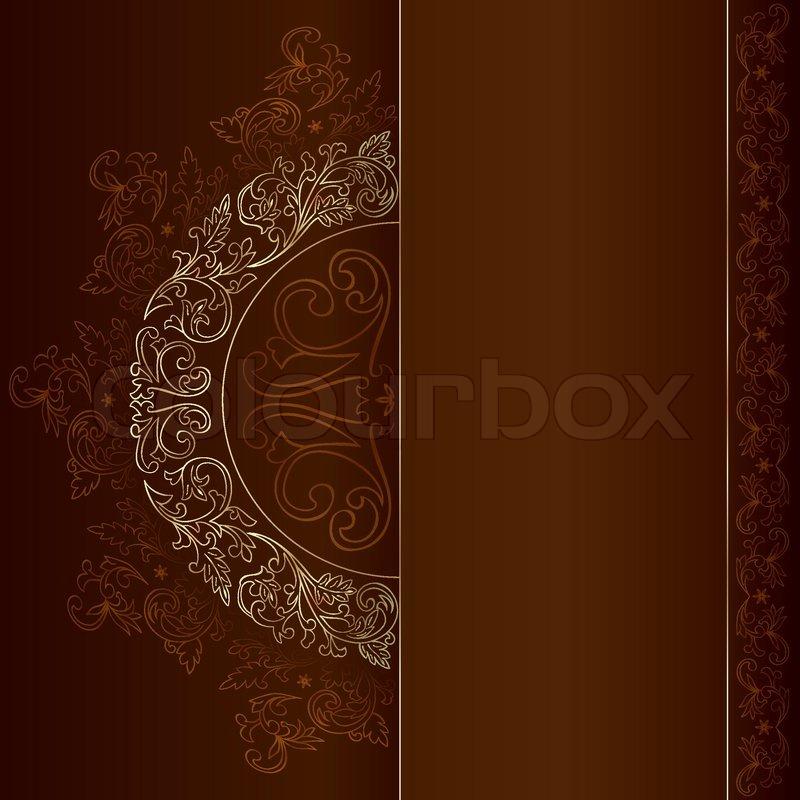gold vintage floral patterns on brown background stock