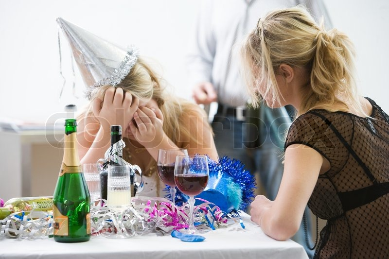 A Woman Crying During A New Year Party  Stock Image -5411