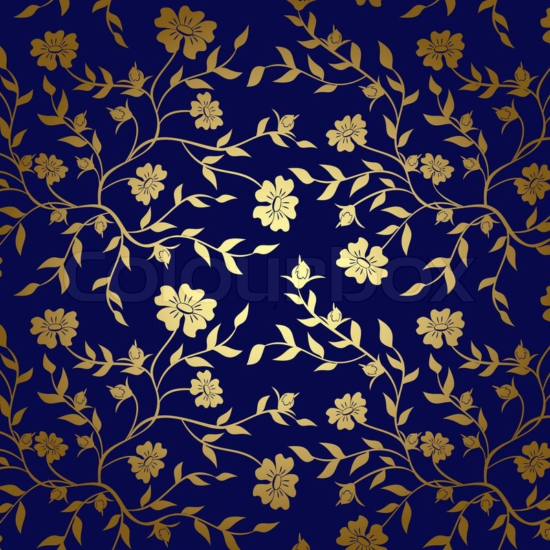 Blue And Gold Floral Texture For Background Stock Photo