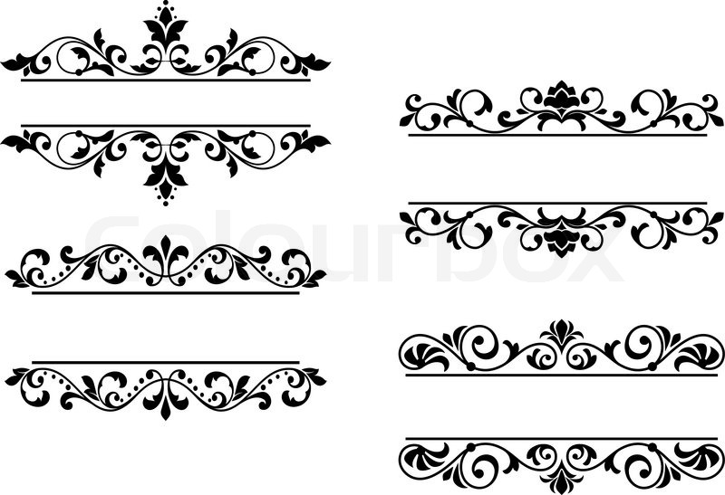 floral headers and borders stock vector colourbox Vintage Vine Border Clip Art Vintage Vine Border Clip Art