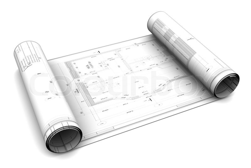 3d illustration of blueprint roll over white background stock 3d illustration of blueprint roll over white background stock photo colourbox malvernweather Image collections
