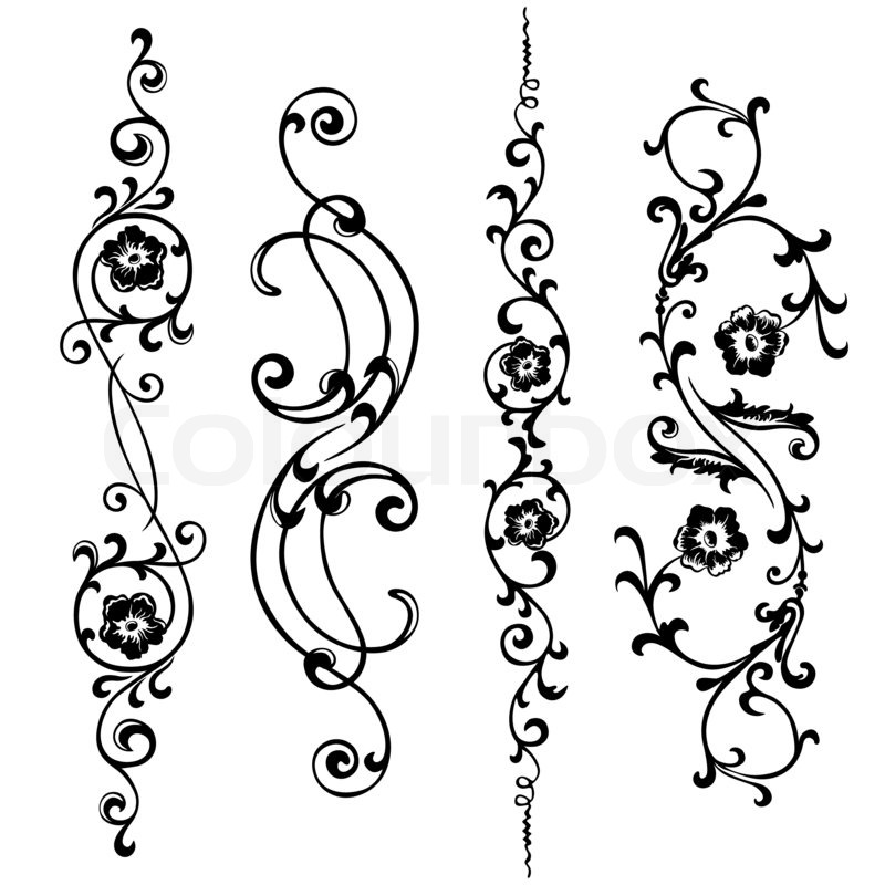 set swirling elements for design flowers and ornaments floral
