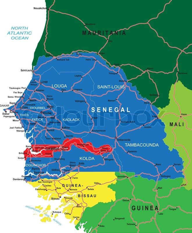 Senegal map Stock Vector Colourbox