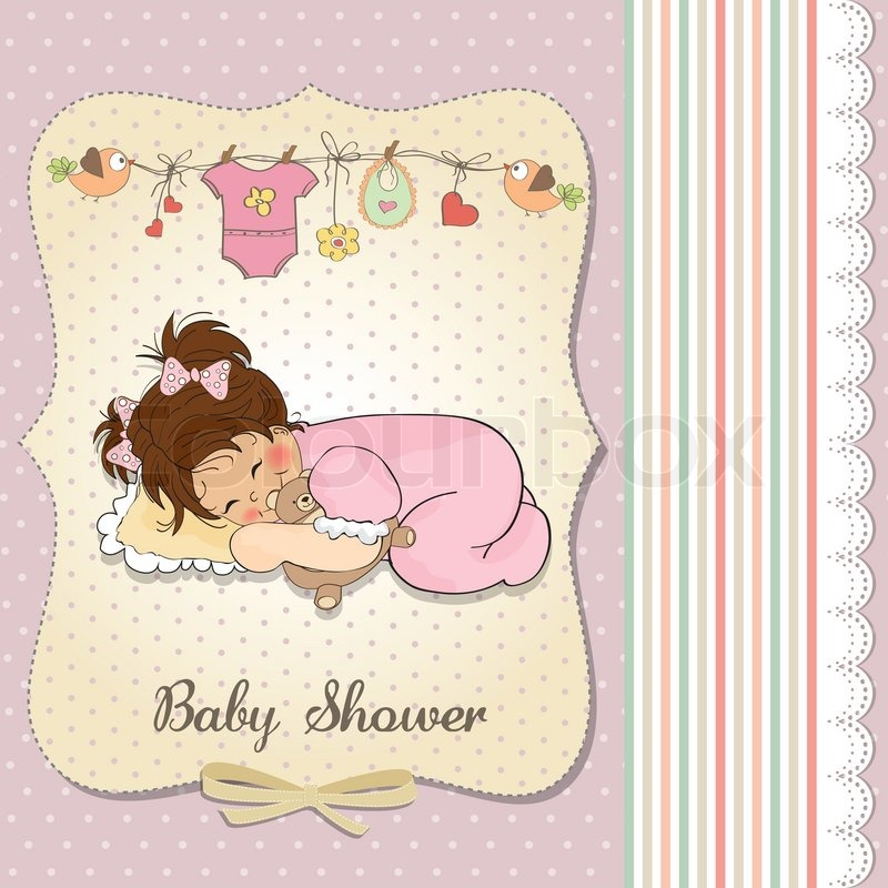 Baby Shower Wiki: Baby Shower Card With Little Baby Girl Play With Her Teddy