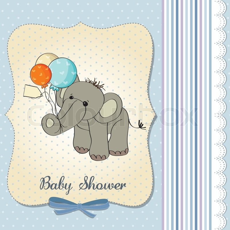 Baby Shower Wiki: Baby Boy Shower Card With Elephant And Balloons