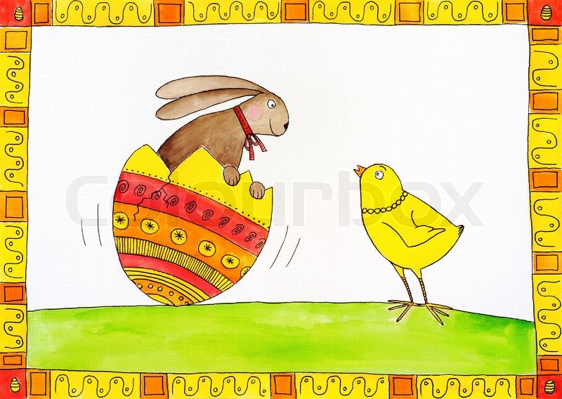 Easter Card Childs Drawing Watercolor Painting On