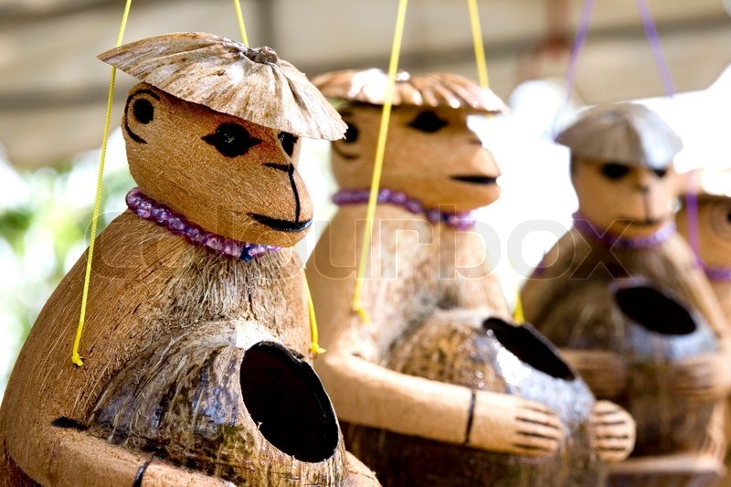 Cute wooden monkeys doll made of coconut shell a nice for Wealth out of waste craft