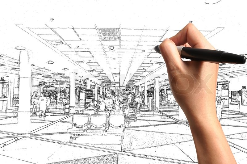 Male Hand Drawing Building And Interior Design As Architect Plan