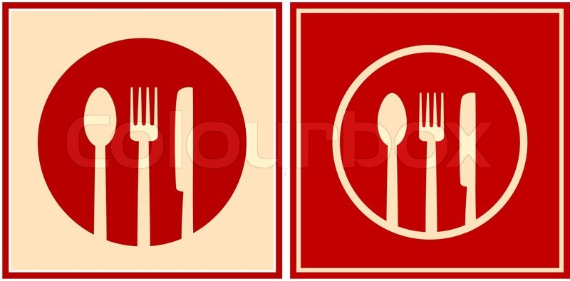 Red Icons With Plate Spoon Fork And Knife Stock Vector