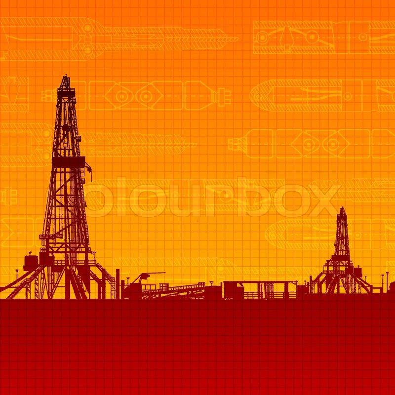 Oil rig silhouettes and orange sky   Stock vector   Colourbox